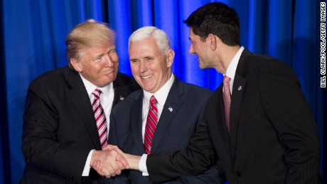 PHILADELPHIA, PA - JANUARY 26:  U.S. President Donald Trump shakes hands with Speaker of the House Paul Ryan (R-WI) while Vice President Mike Pence (C) looks on during a luncheon at the Congress of Tomorrow Republican Member Retreat January 26, 2017 in Philadelphia, Pennsylvania. Congressional Republicans are gathering for three days to plan their 2017 legislative agenda.  (Photo by Bill Clark-Pool/Getty Images)