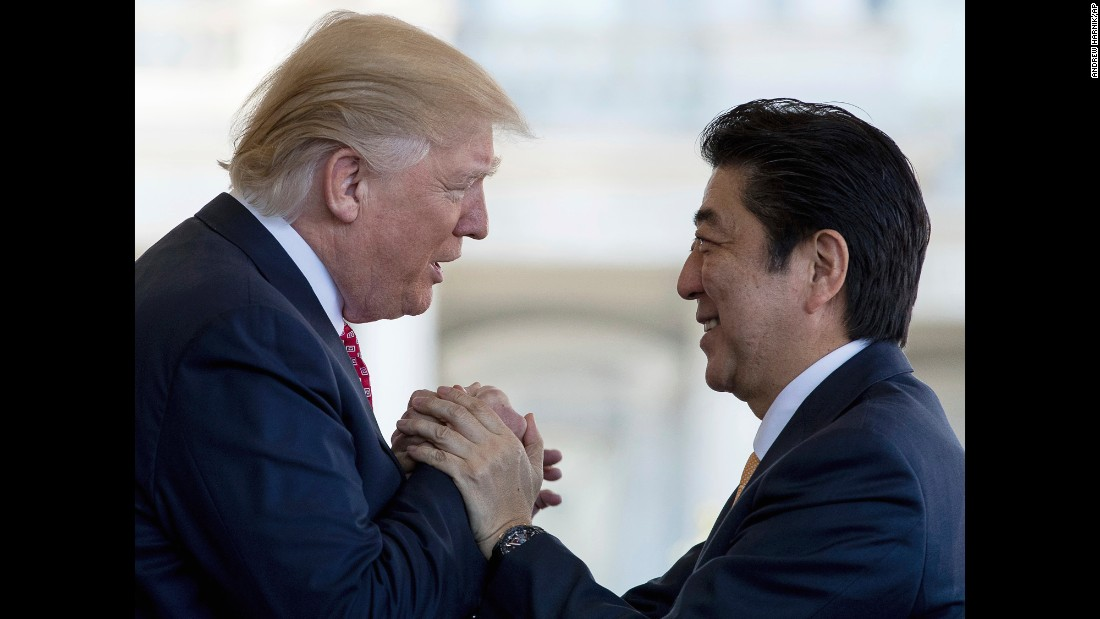 "Trump welcomes Japanese Prime Minister Shinzo Abe outside the West Wing of the White House on Friday, February 10. The two leaders <a href=""http://www.cnn.com/2017/02/10/politics/trump-abe-press-conference/index.html"" target=""_blank"">held Oval Office talks</a> and had lunch together in the State Dining Room. The next day, they traveled to Trump's Mar-a-Lago resort and played golf together."