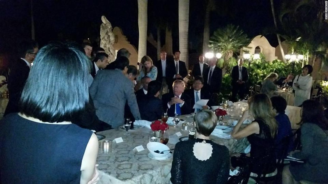 "Trump and Abe were dining at Mar-a-Lago on Saturday, February 11, when they got the call that North Korea had launched an intermediate-range ballistic missile. They gathered their teams for <a href=""http://www.cnn.com/2017/02/12/politics/trump-shinzo-abe-mar-a-lago-north-korea/"" target=""_blank"">an impromptu strategy session</a> that could be seen by other diners at the resort. This photo was posted by a Mar-a-Lago member on Facebook and quickly spread on the Internet."
