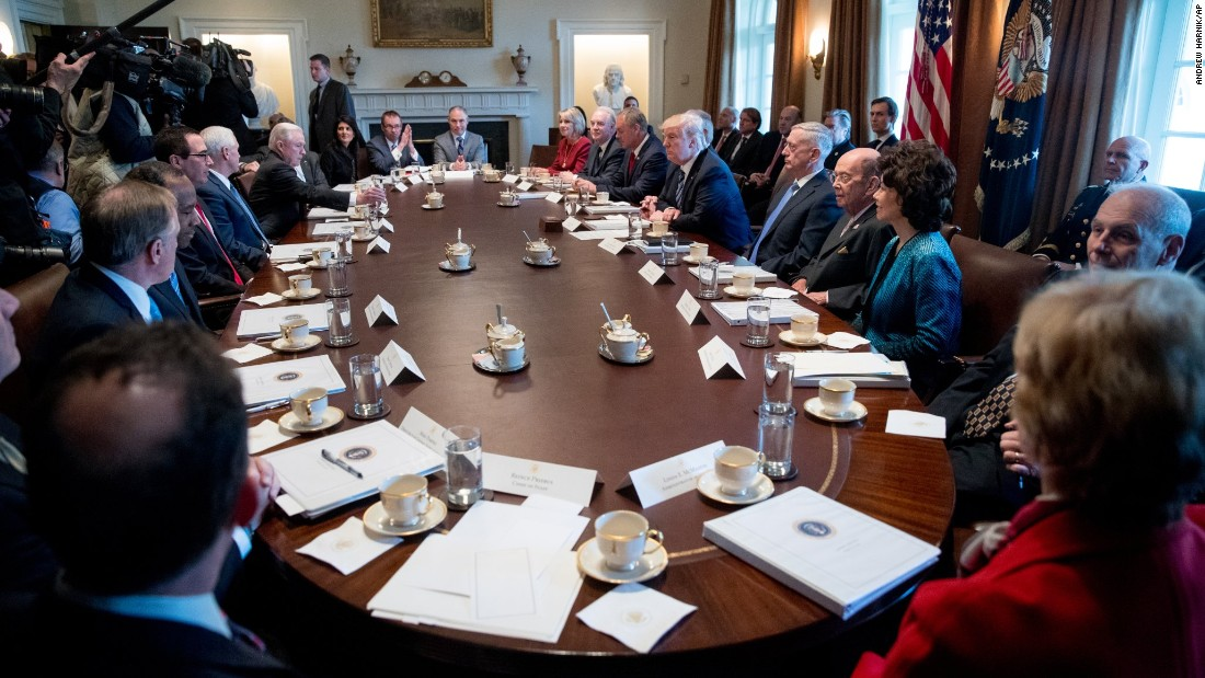 "Trump speaks Monday, March 13, during the first meeting with his Cabinet. <a href=""http://www.cnn.com/2017/03/13/politics/donald-trump-obamacare-repeal-gop-plan/"" target=""_blank"">Who's who on Trump's Cabinet? See the full list here</a>"