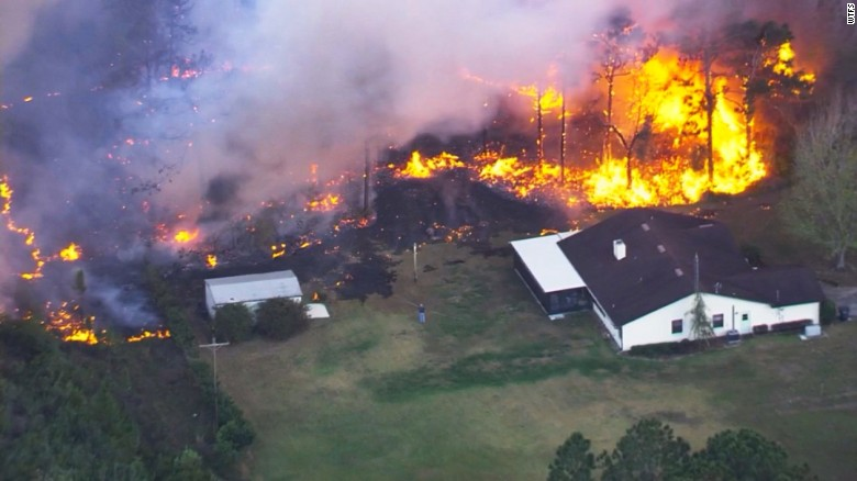 Aerial view of brush fire in Polk County, Florida on April 21, 2017.