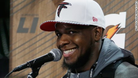 HOUSTON, TX - JANUARY 30:  Mohamed Sanu #12 of the Atlanta Falcons speaks with the media during Super Bowl 51 Opening Night at Minute Maid Park on January 30, 2017 in Houston, Texas.  (Photo by Bob Levey/Getty Images)