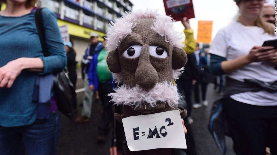 A woman holds a puppet of Albert Einstein during the March for Science in Portland, Oregon, on Saturday, April 22. Thousands turned out in cities around the world to protest President Donald Trump's policies, and to stand up for science.