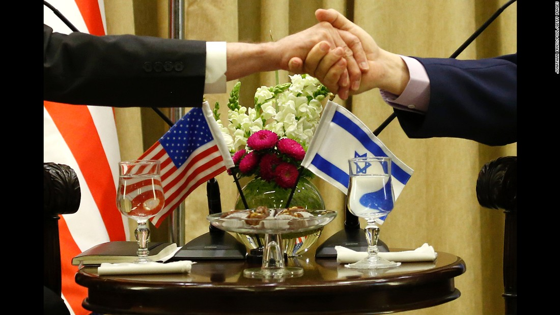 Israel's President Reuven Rivlin, right, shakes hands with US  Defense Secretary James Mattis, left, on Friday, April 21, in Jerusalem, Israel.