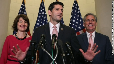 WASHINGTON, DC - OCTOBER 28:  Rep. Paul Ryan (R-WI) (C) speaks to the media while flanked by House Majority Leader Kevin McCarthy (R-CA) and Chairman of the House Republican Conference Rep. Cathy McMorris Rodgers (R-WA) after House Republicans nominated him to be the next Speaker of the House at the US Capitol October 28, 2015 in Washington, DC. Ryan will replace outgoing House Speaker John Boehner.  (Photo by Mark Wilson/Getty Images)