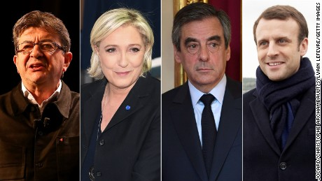 Candidates in the current French election, Jean-Luc Melenchon, Marine Le Pen, Francois Fillon, and Emmanuel Macron.