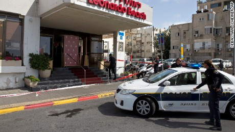 Israeli police officers at the scene of a stabbing attack in Tel Aviv.