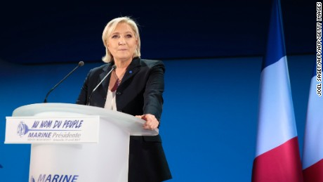 French presidential election candidate for the far-right Front National (FN) party Marine Le Pen delivers a speech in Henin-Beaumont, on April 23, 2017, after the first round of the Presidential election. / AFP PHOTO / joel SAGET        (Photo credit should read JOEL SAGET/AFP/Getty Images)