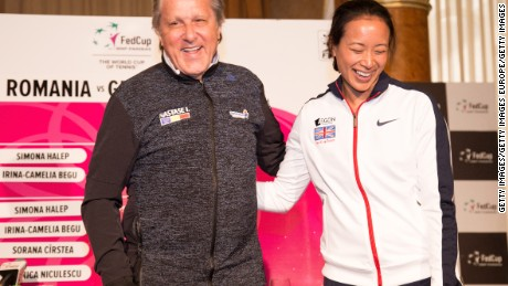 Ilie Nastase and Anne Keothavong ahead of Romania's Fed Cup tie with Great Britain.