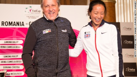 CONSTANTA, ROMANIA - APRIL 21:  Ilie Nastase and Anne Keothavong pose for photos following a Great Britain Fed Cup training session at Tenis Club IDU on April 21, 2017 in Constanta, Romania.  (Photo by Getty Images/Getty Images)