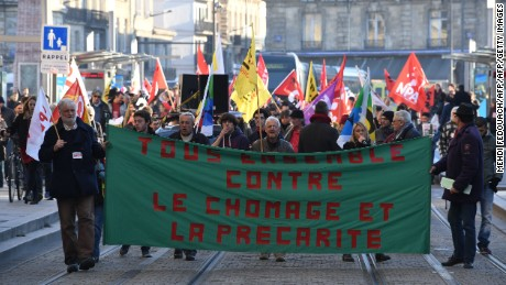 A demonstration against unemployment in Bordeaux.