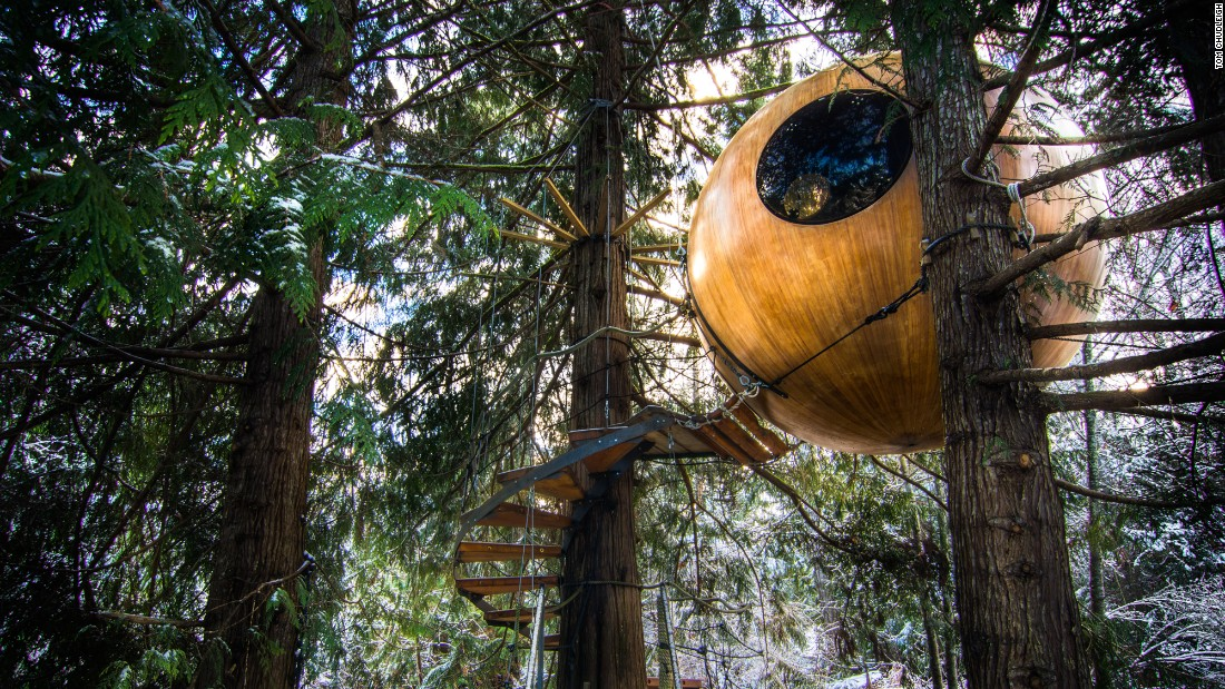 <strong>Free Spirit Spheres, Qualicum Beach, Canada:</strong> People can sleep in the trees in one of three handcrafted spheres in the trees of Vancouver Island's rainforest. Heaters, bedding and snacks are included in the spheres.