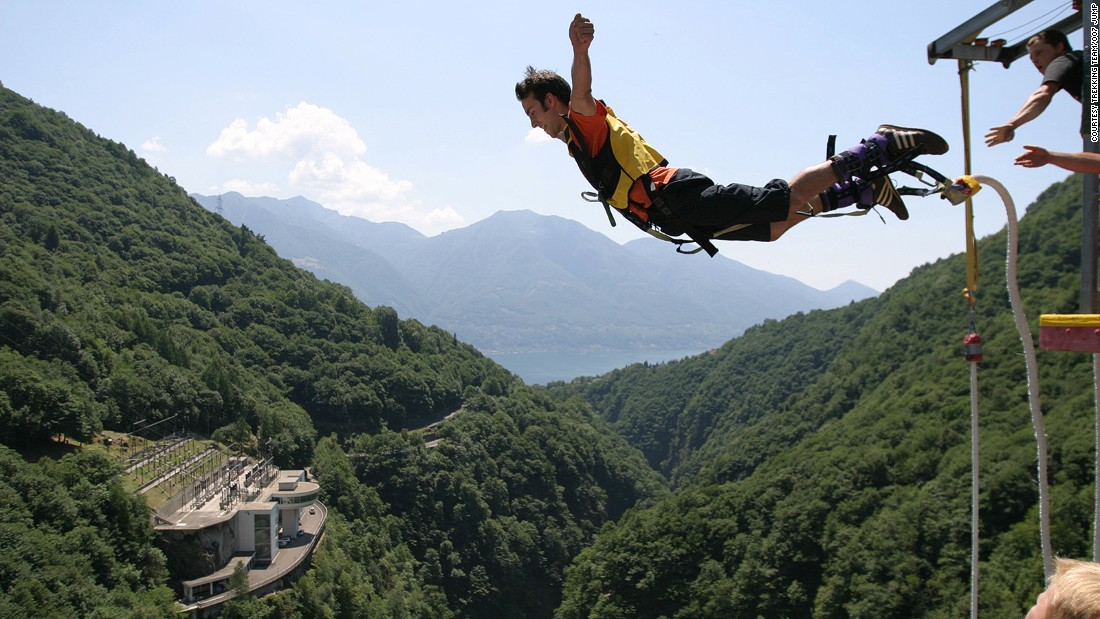"""<strong>The Contra (Verzasca) dam 007 bungee jump (Switzerland): </strong>Dubbed the 007 jump, the Contra dam is where you will have the opportunity to plummet 220 meters (over 720 feet) in Ticino, much like Mr. Bond did in """"GoldenEye."""""""