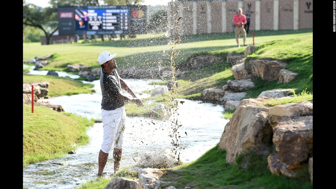 Tony Finau plays a shot out of a hazard during the Valero Texas Open on Friday, April 21.