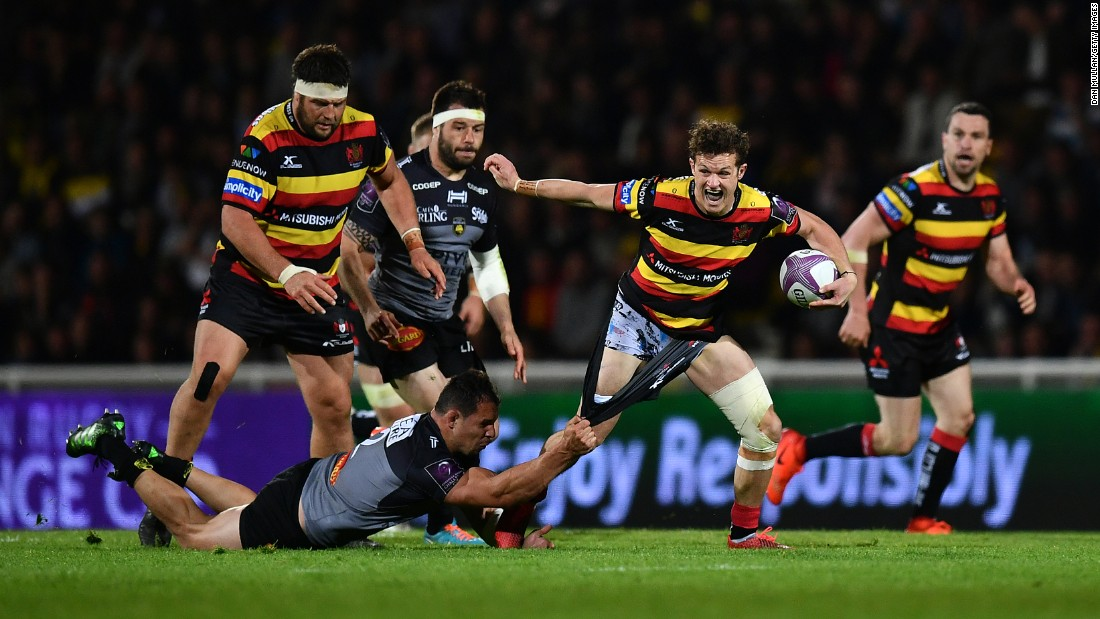 Gloucester's Billy Burns is tackled by La Rochelle's Jeremie Maurouard during a European Challenge Cup match on Saturday, April 22.