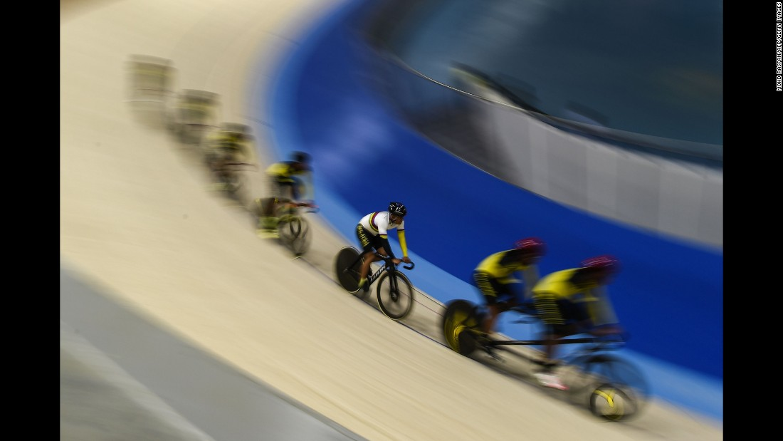 Cyclists test a new track in Nilai, Malaysia, on Thursday, April 20. The velodrome will host races during the Southeast Asian Games in August.
