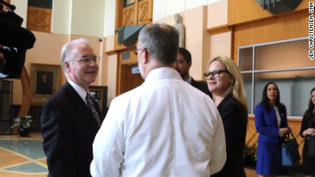 HHS Secretary Tom Price speaks with doctors and administrators at Grady Hospital in Atlanta