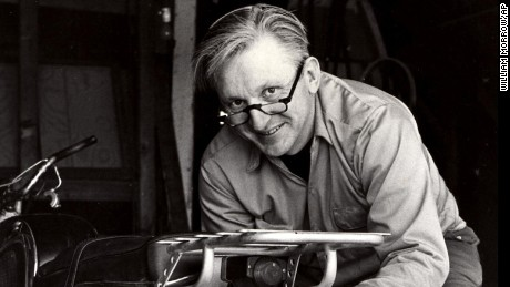 "This 1975 image released by William Morrow shows author Robert M. Pirsig working on a motorcycle. Pirsig, whose novel ""Zen and the Art of Motorcycle Maintenance"" became a million-selling classic after more than 100 publishers turned it down, died at his home in South Benwick, Maine on Monday, April 24, 2017. He was 88. (William Morrow via AP)"