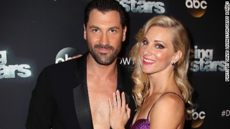 "Actress Heather Morris (R) and dancer Maksim Chmerkovskiy attend ""Dancing with the Stars"" Season 24 at CBS Televison City on April 24, 2017 in Los Angeles, California."