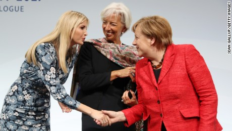 BERLIN, GERMANY - APRIL 25:  Ivanka Trump, daughter of U.S. President Donald Trump, International Monetary Fund (IMF) Managing Director Christine Lagarde and German Chancellor Angela Merkel talk on stage at the W20 conference on April 25, 2017 in Berlin, Germany. The conference, part of a series of events in connection with Germany's leadership of the G20 group of nations this year, focuses on women's empowerment, especially through entrepreneurship and the digital economy.  (Photo by Sean Gallup/Getty Images)