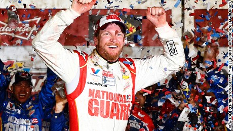 DAYTONA BEACH, FL - FEBRUARY 23:  Dale Earnhardt Jr., driver of the #88 National Guard Chevrolet, celebrates in Victory Lane after winning the NASCAR Sprint Cup Series Daytona 500 at Daytona International Speedway on February 23, 2014 in Daytona Beach, Florida.  (Photo by Tom Pennington/Getty Images)