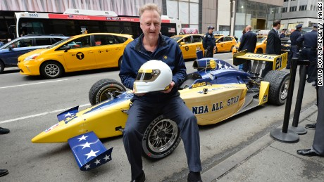 NEW YORK - APRIL 24: President of Basketball Larry Bird of the Indiana Pacers at the wheel of a specially themed IndyCar, Pacers Sports & Entertainment today officially delivered its bid for the 2021 NBA All-Star Game to NBA Headquarters in midtown Manhattan on April 24, 2017 in New York City. NOTE TO USER: User expressly acknowledges and agrees that, by downloading and/or using this photograph, user is consenting to the terms and conditions of the Getty Images License Agreement. Mandatory Copyright Notice: Copyright 2017 NBAE (Photo by David Dow/NBAE via Getty Images)