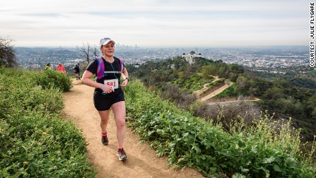 Julie Flygare competing in the 2017 Griffith Park Trail Marathon copy