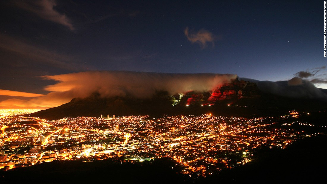 <strong>Table Mountain, Cape Town: </strong>While other cities have skyscrapers to be lit up for special occasions, Cape Town has Table Mountain. The flat-topped mountain is arguably the most iconic and beloved landmark in the city.