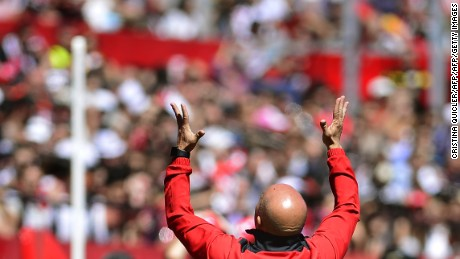 Sevilla's Argentinian coach Jorge Sampaoli gestures during the Spanish league football match Sevilla FC vs Real Sporting de Gijon at the Ramon Sanchez Pizjuan stadium in Sevilla on April 2, 2017. / AFP PHOTO / CRISTINA QUICLER        (Photo credit should read CRISTINA QUICLER/AFP/Getty Images)