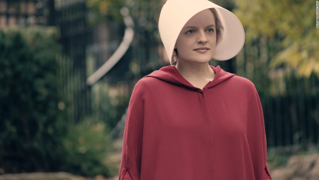 Elisabeth Moss pictured as Offred in Hulu's 'The Handmaid's Tale.' The dystopian drama earned 13 Emmy nominations, including a nod for outstanding drama series.