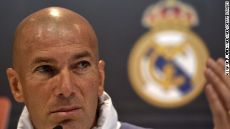 Real Madrid's French coach Zinedine Zidane gestures during a press conference at Valdebebas training ground in Madrid on April 22, 2017, on the eve of the Spanish League Clasico football match Real Madrid CF vs FC Barcelona. / AFP PHOTO / GERARD JULIEN        (Photo credit should read GERARD JULIEN/AFP/Getty Images)