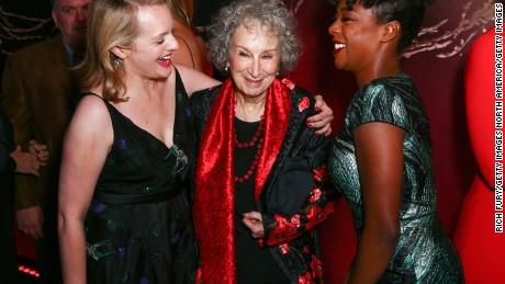 "Actor Elizabeth Moss, author Margaret Atwood and actor Samira Wiley attend the premiere of Hulu's ""The Handmaid's Tale"" at ArcLight Cinemas Cinerama Dome on April 25, 2017 in Hollywood, California."