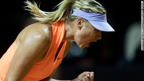 STUTTGART, GERMANY - APRIL 26: Maria Sharapova of Russia reacts in her match against Roberta Vinci (not seen) of Italy during the Porsche Tennis Grand Prix at Porsche Arena in Stuttgart, Germany on April 26, 2017. (Photo by Daniel Kopatsch/Anadolu Agency/Getty Images)
