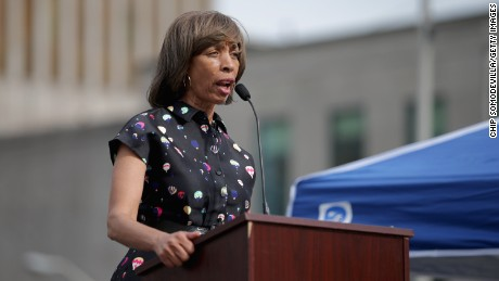 Baltimore mayoral candidate and state Sen. Catherine Pugh addresses a rally to mark the anniversary of the death of city resident Freddie Gray at the War Memorial Plaza across from the City Hall April 25, 2016 in Baltimore, Maryland.