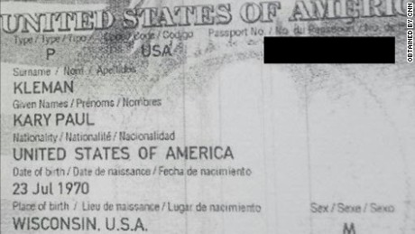 A photocopy of Kleman's passport, obtained by CNN from someone who helped the man cross the border. CNN edited the image to obscure the passport number.