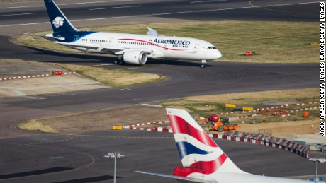 LONDON, ENGLAND - OCTOBER 11: An Aero Mexico aircraft at Heathrow Airport on October 11, 2016 in London, England. The UK government has said it will announce a decision on airport expansion soon. Proposals include either a third runway at Heathrow, an extension of a runway at the airport or a new runway at Gatwick Airport. (Photo by Jack Taylor/Getty Images)