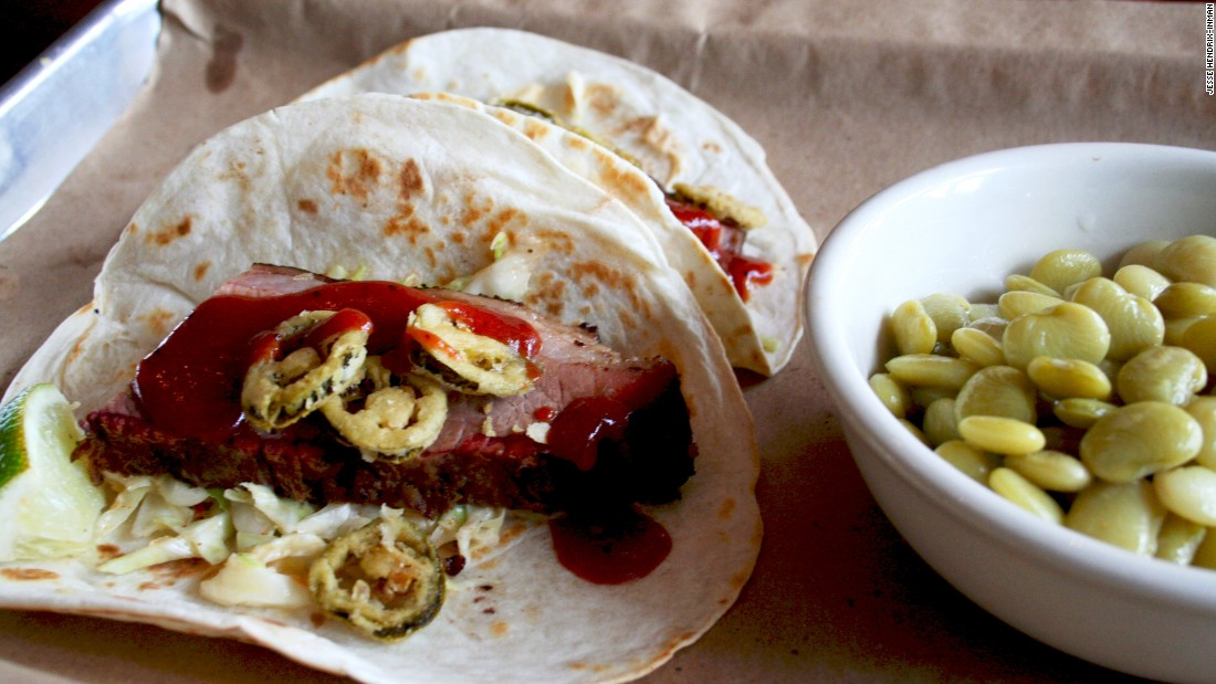<strong>Doc Crow's:</strong> Brisket tacos are among the southern barbecue offerings at Doc Crow's.