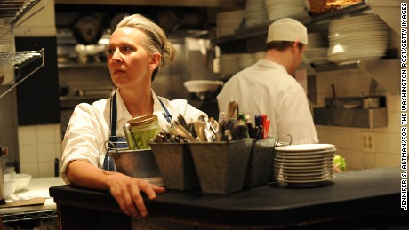 "MANHATTAN, NY, FEBRUARY 25, 2011. Chef and Author Gabrielle Hamilton, is seen in her restaurant named Prune in Manhattan, NY. Hamilton wrote a wrote a book called ""Blood Bones & Butter"" that is being hailed as one of the best ever memoirs by a chef. 2/25/2011 (Photo by Jennifer S. Altman/For The Washington Post via Getty Images)"