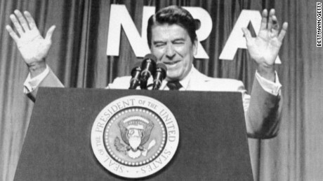 President Ronald Reagan addresses members of the National Rifle Association at the Civic Center in Phoenix, Arizona May 6, 1983.