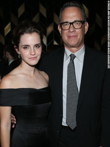 NEW YORK, NY - APRIL 26:  Emma Watson (L) and Tom Hanks attend the afterparty for 'The Circle' during the 2017 Tribeca Film Festival at American Cut Tribeca on April 26, 2017 in New York City.  (Photo by Rob Kim/Getty Images for 2017 Tribeca Film Festival)