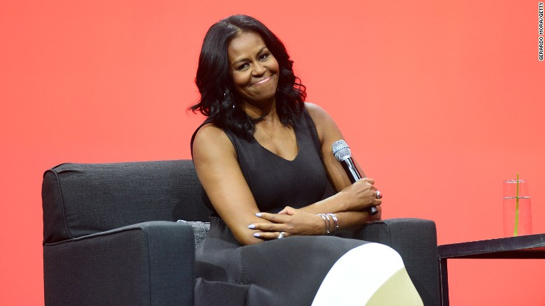 Former United States First Lady Michelle Obama Smiles During The AIA  Conference On Architecture 2017 On