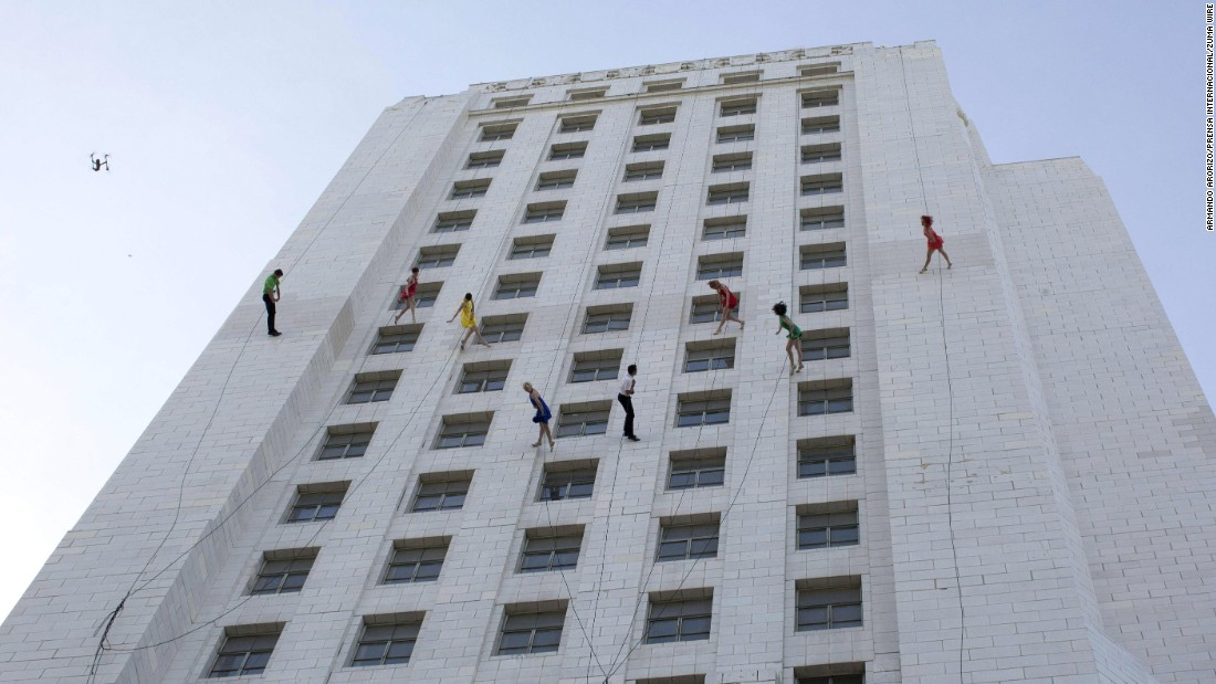 "The vertical dance group Bandaloop performs at Los Angeles City Hall on Tuesday, April 25. It was part of the city's ""La La Land Day,"" which celebrated the recent Oscar-nominated movie."