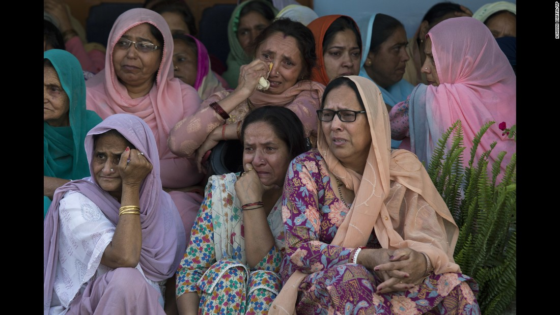 "Women grieve as they await the arrival of the body of Sanjay Kumar at his home in Palampur, India, on Tuesday, April 25. Kumar was among 25 police officers killed when suspected Maoist rebels <a href=""http://www.cnn.com/2017/04/24/asia/india-maoist-attack-police/"" target=""_blank"">attacked a convoy</a> in central India."