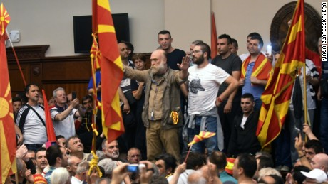 epa05931531 Protestors storm the Parliament after Social Democratic Union of Macedonia with Albanian parties elected new President of the Parliament Talat Dzaferi (not pictured) as they have parliamentary majority, in Skopje, The Former Yugoslav Republic of Macedonia on 27 April 2017. President Ivanov didn't give the mandate for a new government,  Although Zoran Zaev (the leader of SDSM) provided a list of signatures, guaranteeing parliamentary majority he rejected giving him the mandate with explanation that the coalition between Zaev and the Albanian parties (with their platform for two official languages in the country) would destroy the constitutional order in the country.  EPA/MAJA ZLATECSKA