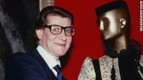 "Yves Saint Laurent inside ""Yves Saint Laurent: 25 Years of Design,"" the last Costume Insitute exhibition dedicated to a living designer."