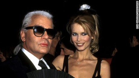 "Karl Lagerfeld and Claudia Schiffer at the 1995 Costume Institute gala for ""Haute Couture."""