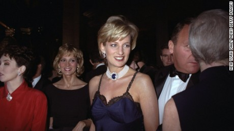 "Princess Diana at the Costume Institute gala for ""Christian Dior"" in 1996."