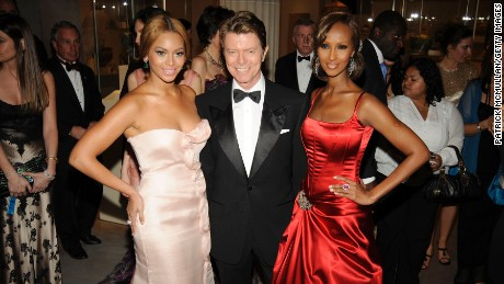 "Beyoncé, David Bowie and Iman attend 2008's ""Superheroes: Fashion and Fantasy"" gala."