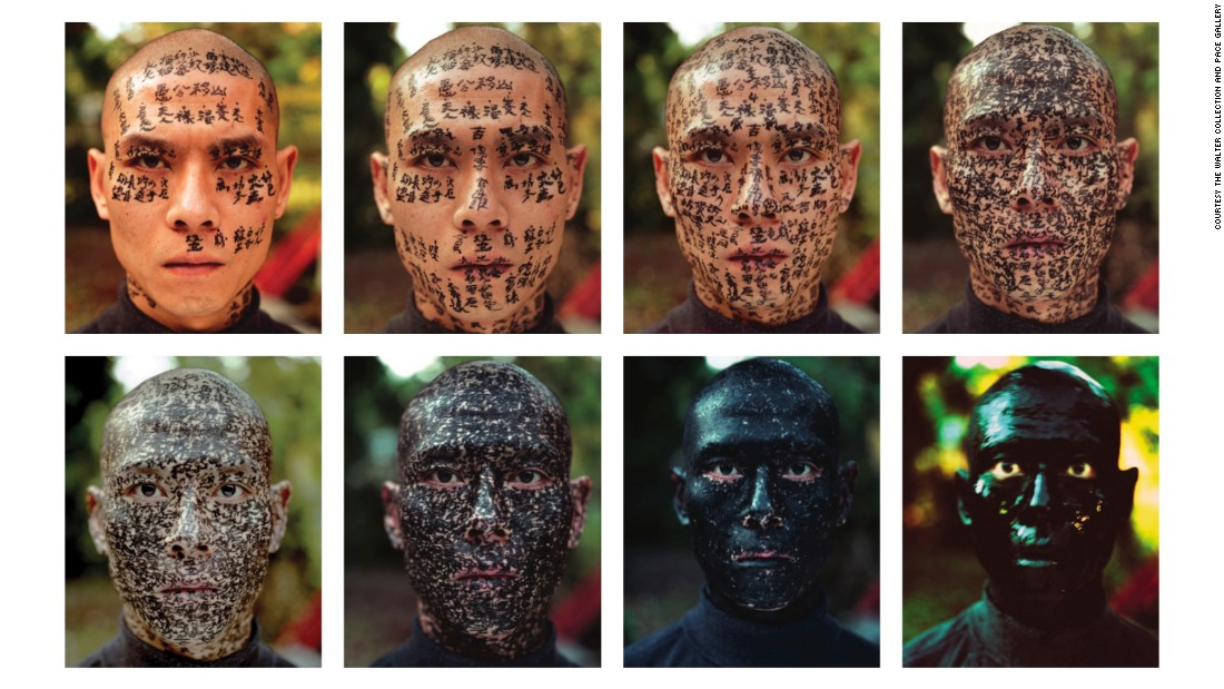 "Zhang Huan's performance piece ""Family Tree"" uses his own body as a site to explore social phenomena. Calligraphers slowly coat his face with phrases, from political slogans of Mao Zedong to observations about Zhang's skull. The sequence tugs at the tension between the self and society, letting viewers ponder at what point one supersedes the other."