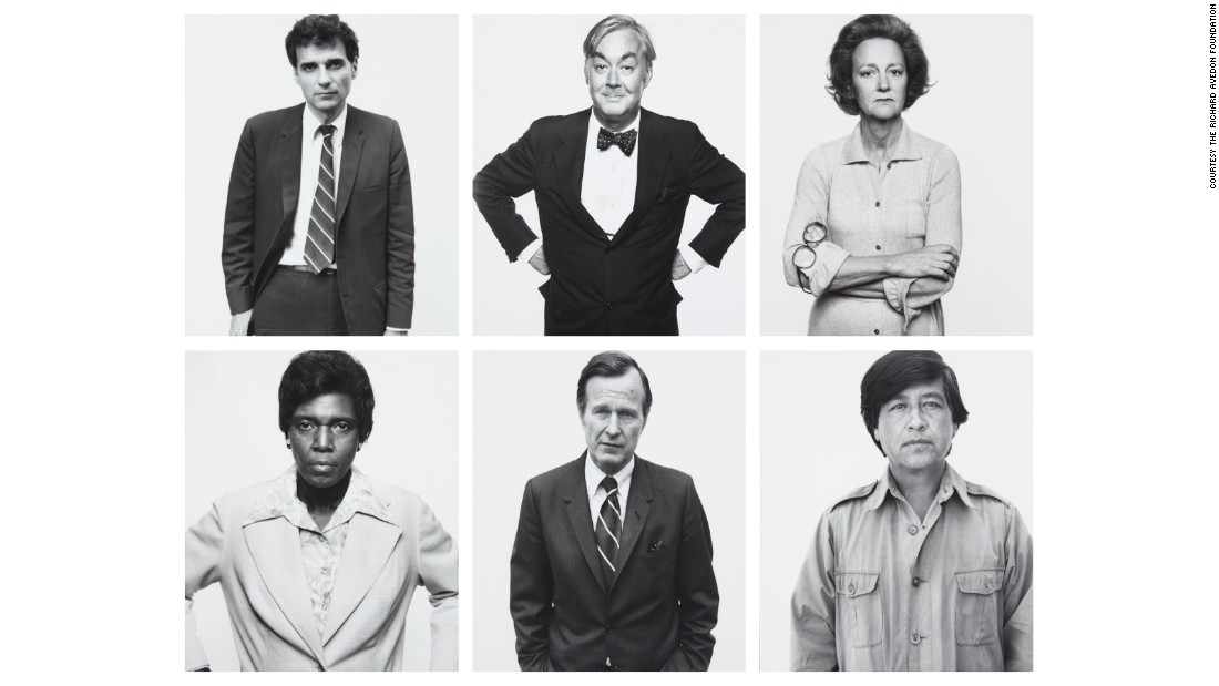 "Portraitist Richard Avedon's 1976 series ""The Family"" included 69 photographs of key American political figures -- here, for example, Ralph Nader, Daniel Patrick Moynihan, Katherine Graham, Barbara Jordan, George H.W. Bush, and Cesar Chavez -- revealing the dominant power structure of the day."